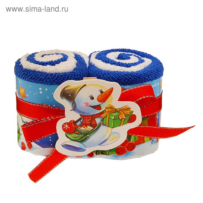 """Полотенце сувенирное Collorista """"Снеговик"""" 20х20см -2шт хлопок, 15х15см-2 шт микрофибра"""