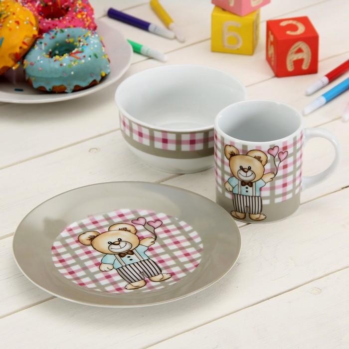 """Набор детской посуды """"Мишка. Клетка"""", 3 предмета: кружка 150 мл, миска 11 см 220 мл, тарелка 17,5 см"""