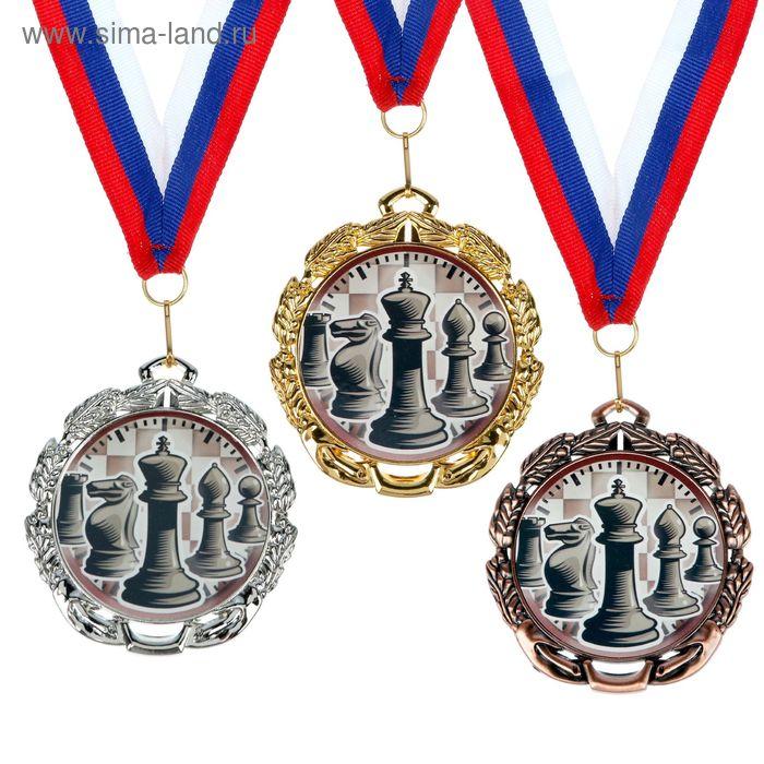 "Медаль тематическая 047 ""Шахматы"", диам 6,5 см Цвет зол"