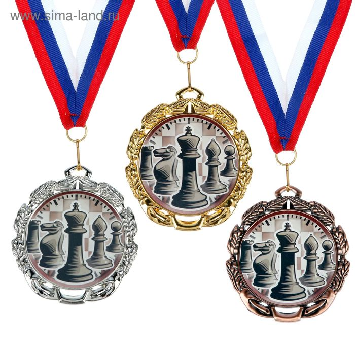 """Медаль тематическая 047 """"Шахматы"""", диам 6,5 см Цвет сер"""