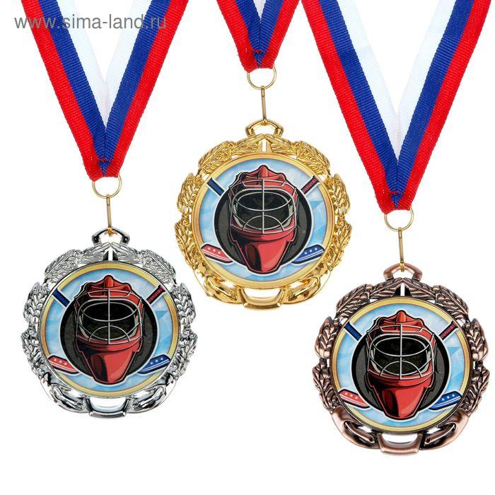 """Медаль тематическая 050 """"Хоккей"""", диам 6,5 см Цвет бронз"""
