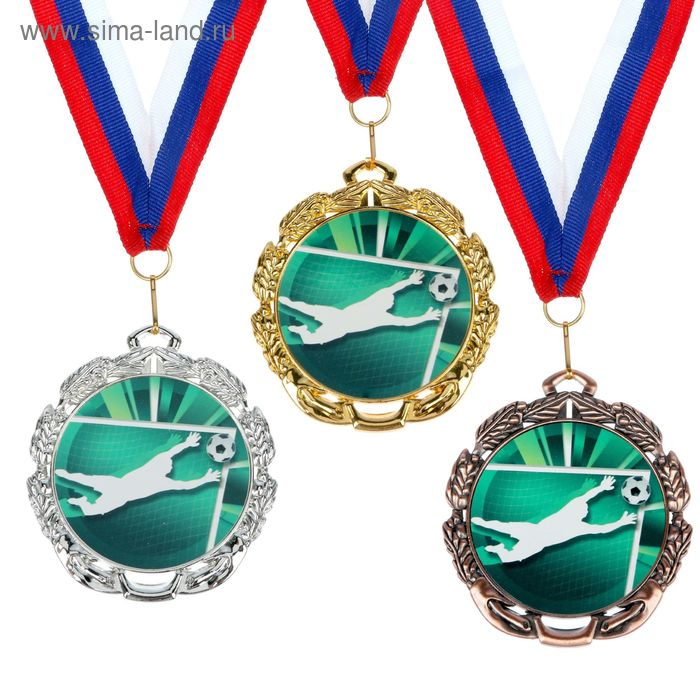 """Медаль тематическая 051 """"Футбол вратарь"""", диам 6,5 см Цвет бронз"""