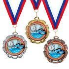 """Медаль тематическая 054 """"Плавание"""", диам 6,5 см Цвет зол"""