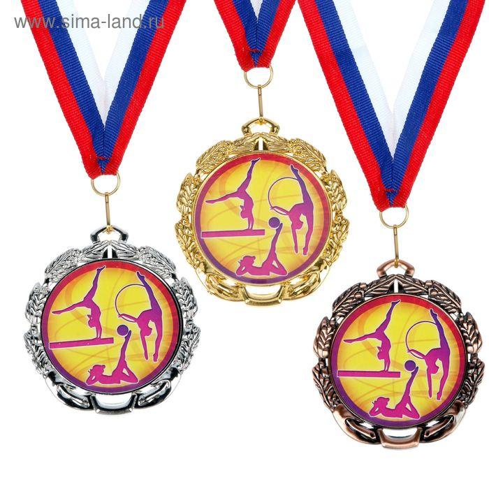 """Медаль тематическая 056 """"Худож. гимнастика"""", диам 6,5 см Цвет сер"""
