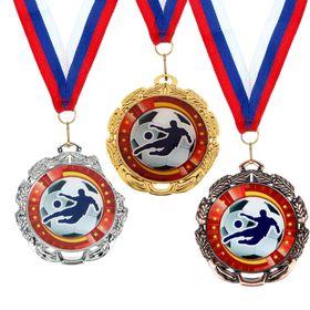 Медаль тематическая «Футбол», серебро, d=6,5 см