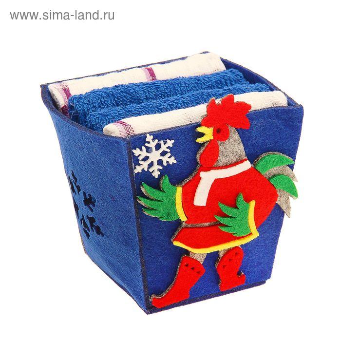 """Набор полотенец в корзинке Collorista """"Новогодний петух"""" - 2 шт., 30х30 см махровое, 38х64 см вафельное полотно"""