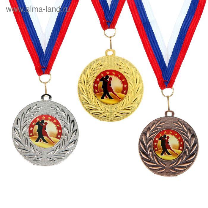 """Медаль тематическая 073 """"Парный танец"""", цвет сер, диам 5 см"""