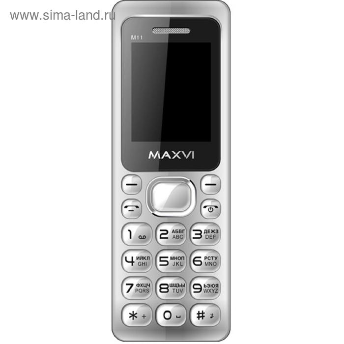Мобильный телефон Maxvi M11, серебристый