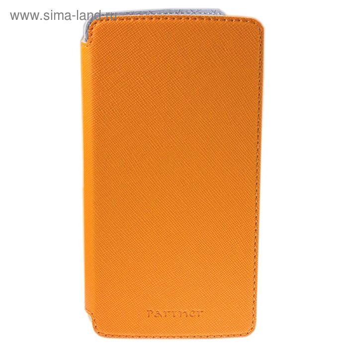 """Чехол Partner Book-case 5,2"""", оранжевый  (размер 7.5*14.9 см)"""
