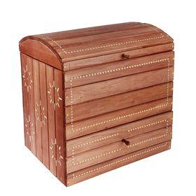 """Сундук деревянный """"Глобус"""", 55×35×57см, морёный, резной, """"Добропаровъ"""""""
