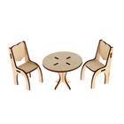 Заготовка Кукольная мебель Стол с двумя стульями 8,5*6,5