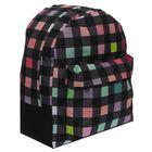 """Рюкзак молодёжный на молнии """"Цветная клетка"""", 1 отдел, 1 наружный карман, чёрный"""