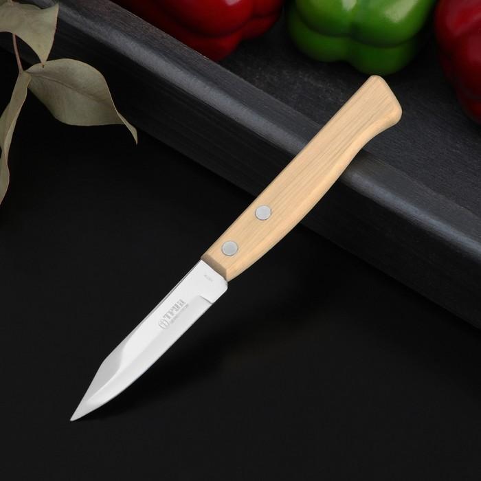 Нож для овощей, длина 17 см, лезвие 8 см, на деревянной ручке