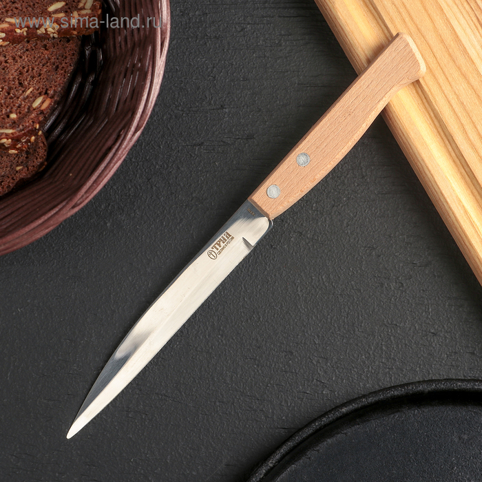 Нож для овощей, длина 22 см, режущая часть 12,5 см, на деревянной ручке