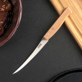 Нож «Ретро» для овощей (для томатов), лазерная заточка, лезвие:12 см, с деревянной ручкой