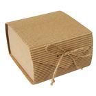 Коробка крафт из рифленого картона 11,5 х 11,5 х 7 см, сборная, пенал натуральный