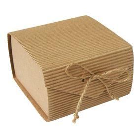 Коробка крафт из рифленого картона 11,5 х 11,5 х 7 см, сборная, пенал натуральный Ош