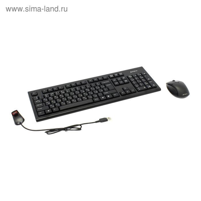 Комплект клавиатура и мышь A4 7100N, беспроводной, мембранный, 2000 dpi, USB, черный
