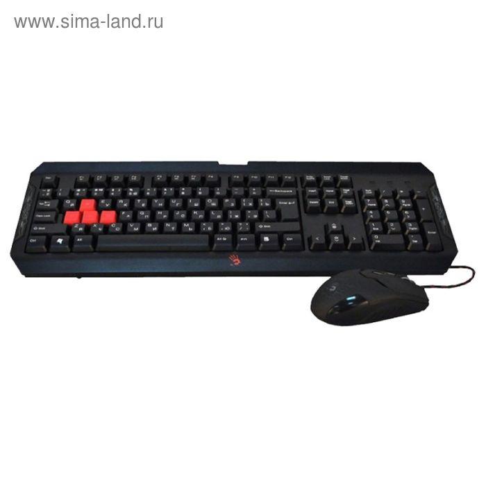 Комплект A4 Bloody Q1100 (Q100+S2), клавиатура + мышь , черный/красный