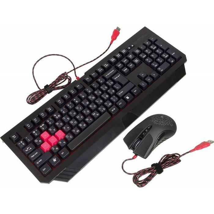 Комплект A4 Bloody Q1500/B1500 (Q110+Q9), клавиатура + мышь, черный/красный