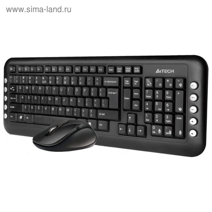 Комплект A4 V-Track 7200N, клавиатура + мышь, черный