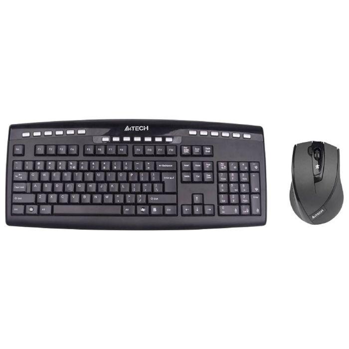 Комплект клавиатура и мышь A4 V-Track 9200F, беспроводной, мембранный, 2000 dpi, черный