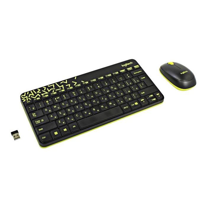 Комплект клавиатура и мышь Logitech MK240, беспроводной, мембранный, 1000 dpi, USB, черный