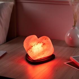 "Соляная лампа ""Сердце алое"", цельный кристалл, 13 см"