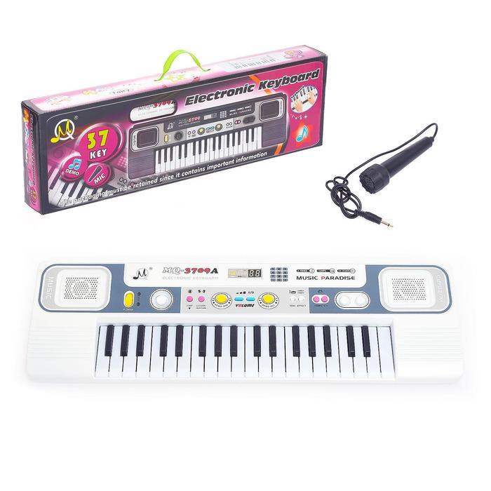 Синтезатор «Маленький музыкант» с микрофоном, 37 клавиш, цвет белый