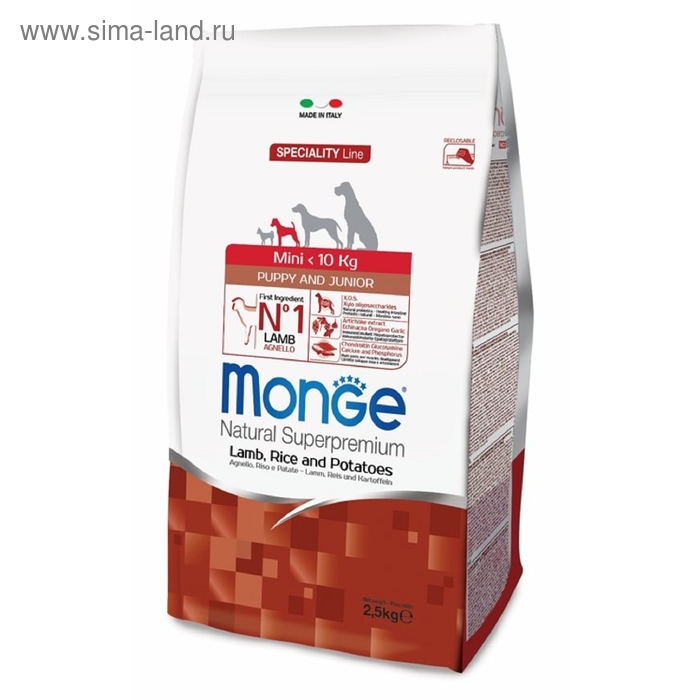Сухой корм Monge Dog Speciality Mini для щенков, ягненок с рисом и картофелем, 2,5 кг