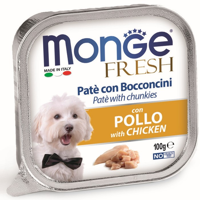 Влажный корм Monge Dog Fresh для собак, курица, 100 г
