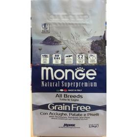 Сухой корм Monge Dog GRAIN FREE для собак, анчоусы/картофель/горох, 2,5 кг.