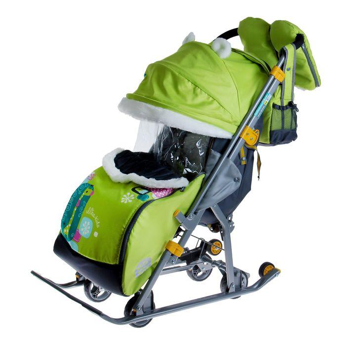 Санки-коляска «Ника детям 7-2. Коллаж-жираф» с выдвижными колёсами, цвет лимонный (модель 2016 года)