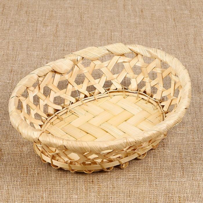 Фруктовница «Плетёнка», овальная, редкое плетение, 17×14×4 см, бамбук