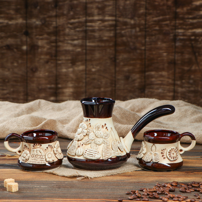 """Кофейный набор """"Деревенька"""", лепка, 3 предмета: турка 0.5 л, чашки 0.2 л, микс - фото 797729145"""