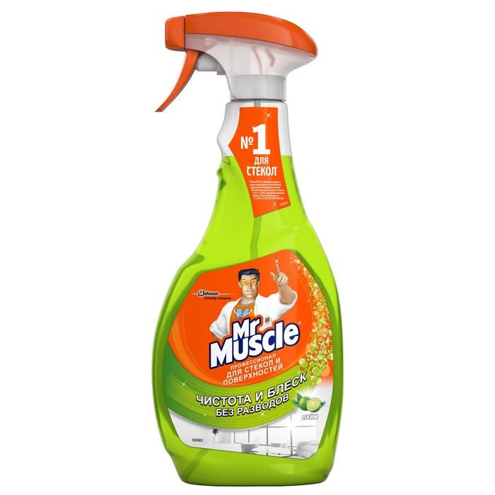 """Чистящее и моющее средство Mr. Muscle """"Лайм"""" со спиртом для стёкол и других поверхностей со спиртом, 500 мл"""