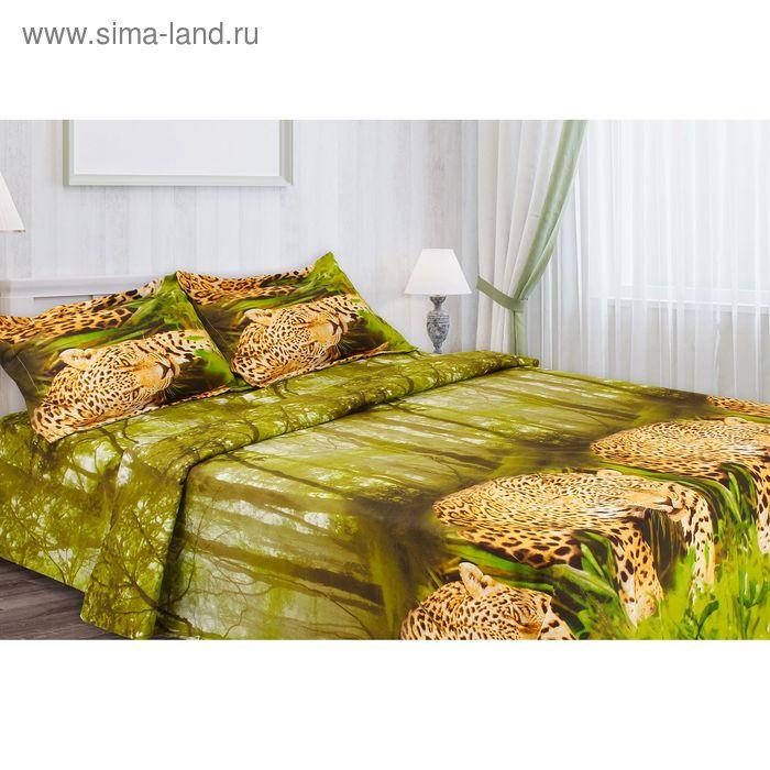"""Постельное бельё """"Этель престиж"""" евро Леопард в тропиках 200*220 см, 220*240 см, 50*70 + 5 см - 2 шт."""