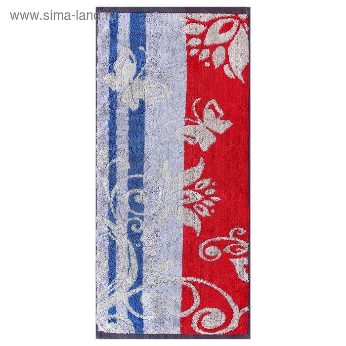 Полотенце махровое пестротканное, вензель синий, размер 47х90 см, хлопок 420 г/м2