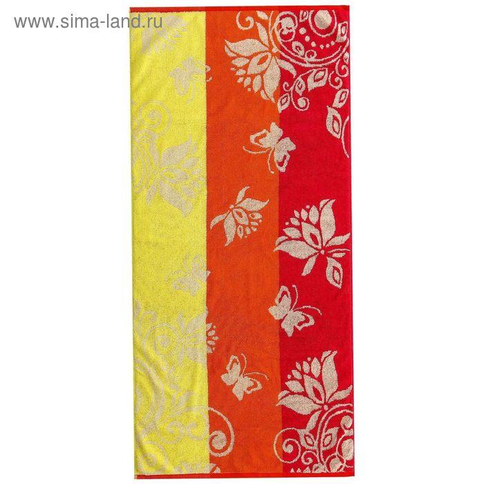 Полотенце махровое пестротканное, вензель жёлтый, размер 47х90 см, хлопок 420 г/м2