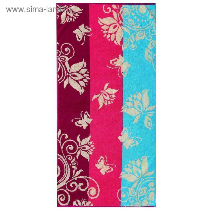 Полотенце махровое пестротканное, вензель фиолетовый, размер 47х90 см, хлопок 420 г/м2