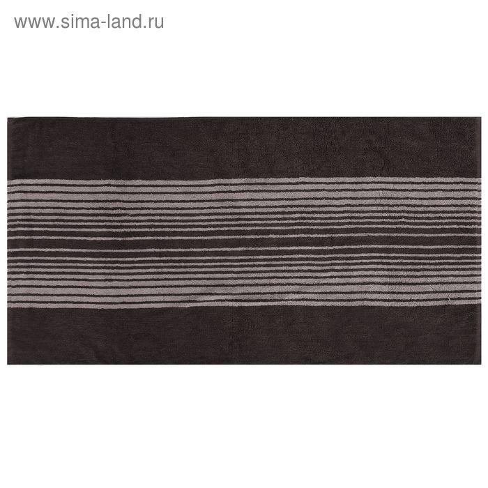 Полотенце махровое пестротканное, полосы серые, размер 47х90 см, хлопок 340 г/м2