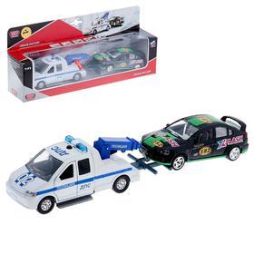 Машина металлическая инерционная «Эвакуатор ДПС с машинкой» световые и звуковые эффекты