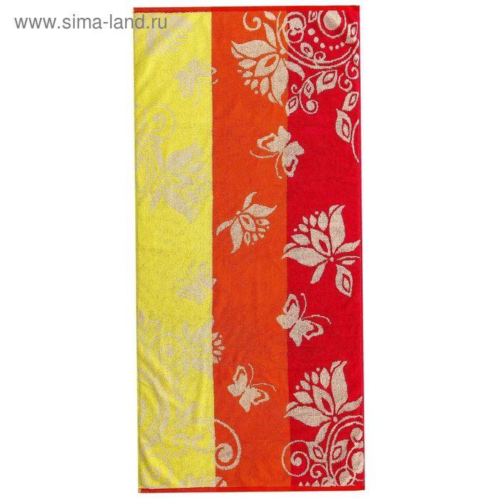 Полотенце махровое пестротканное, вензель жёлтый, размер 30х70 см, хлопок 420 г/м2