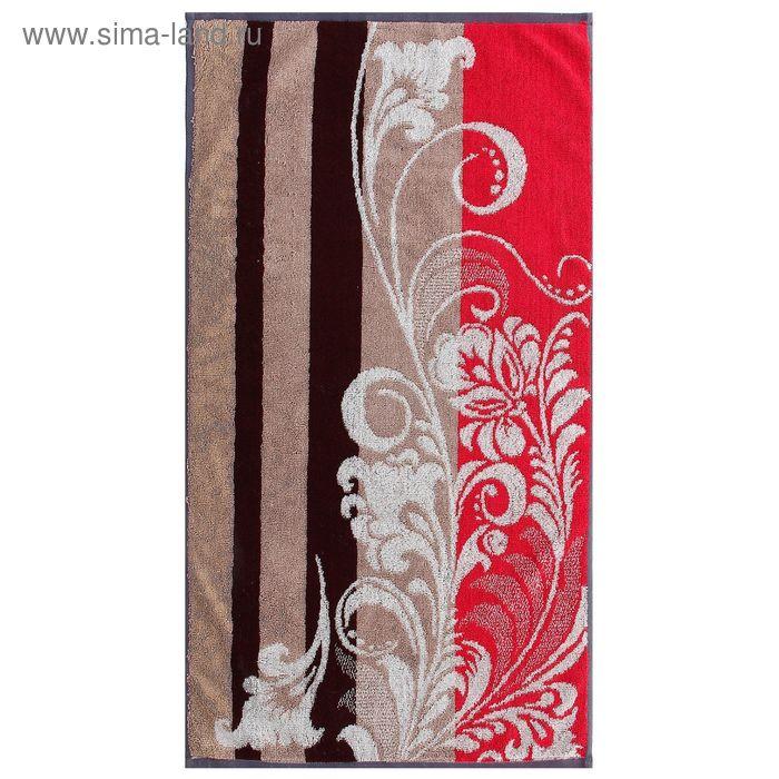 Полотенце махровое пестротканное, вензель коричневый, размер 30х70 см, хлопок 420 г/м2