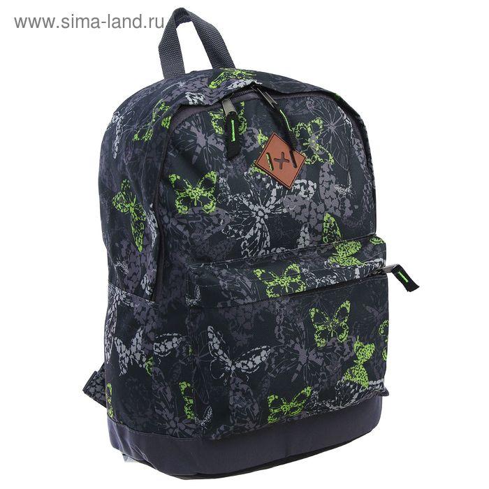 """Рюкзак молодёжный на молнии """"Зелёные бабочки"""", 1 отдел, 1 наружный карман, чёрный"""