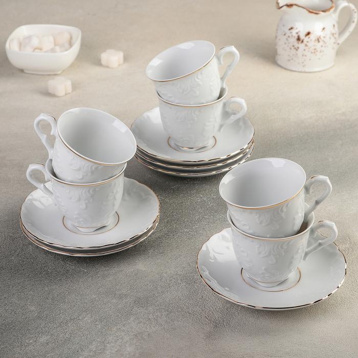 Набор кофейный на 6 персон, 12 предметов: 6 чашек 100 мл, 6 блюдец 12,5 см