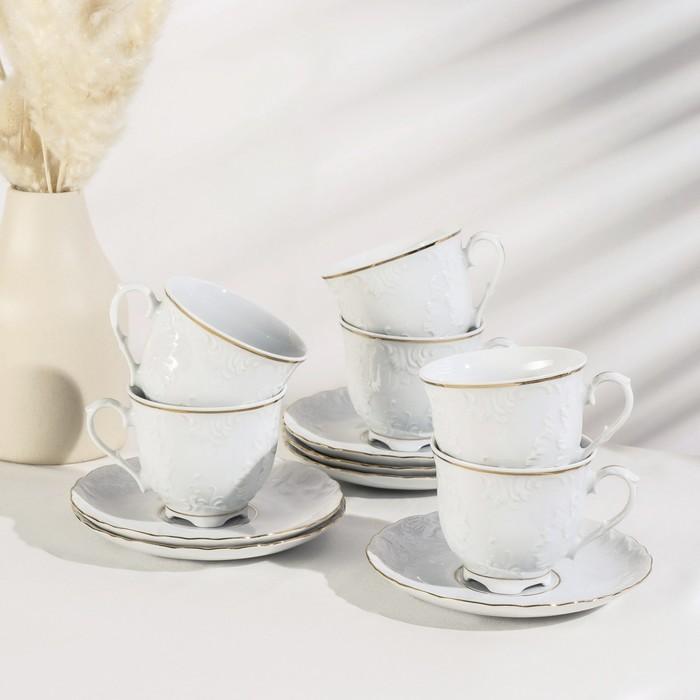 Сервиз чайный на 6 персон, 12 предметов: чашка 250 мл, блюдце