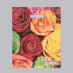"""Пакет """"Королева цветов"""", полиэтиленовый с вырубной ручкой, 30 х 40 см, 35 мкм"""