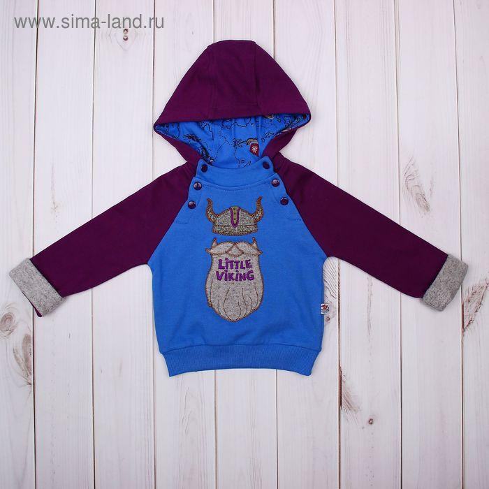 Джемпер (толстовка) для мальчика, рост 68 см (44), цвет синий/бордовый (арт. ZBB 09017-BR_М)