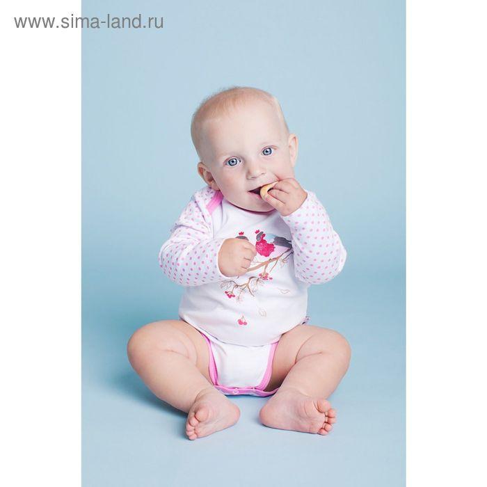 Боди с длинными рукавами для девочки, рост 62 см (40), цвет белый, принт горох (арт. ZBB 13366-W_М)